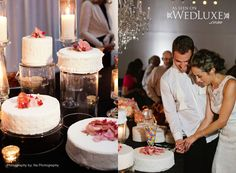glass vases as cake stands - so pretty!