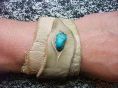 Cream Leather Wrist Cuff by TreadLightGear on Etsy, $25.00
