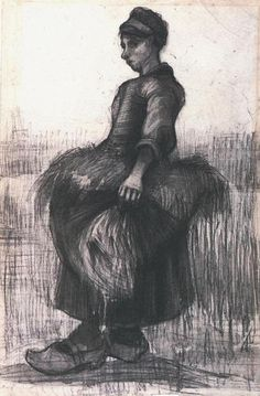 Vincent van Gogh 1885+Peasant+Woman,+Carrying+Wheat+in+Her+Apron+black+chalk+&+wash+on+paper