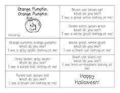 First Grade a la Carte: Orange Pumpkin, Orange Pumpkin What Do You See? Fall Preschool, Preschool Halloween, Halloween Ideas, Halloween Party, Infant Halloween, Halloween Music, Preschool Projects, Preschool Class, Halloween 2015