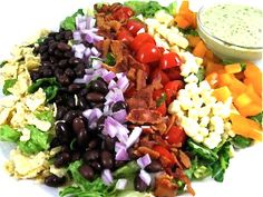 Mexican Style Cobb Salad, So Deliciously Satisfying and Low in Calories! It's chock full of great, skinny, satisfying ingredients and tossed in a yummy reduced-fat cilantro dressing. The skinny for 1 serving is 283 calories, 7.9g fat, 9 grams of fiber and 8 Weight Watchers POINTS PLUS.