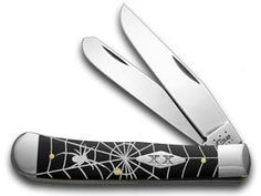 CASE XX Black Delrin Spider Web 1/500 Trapper Pocket Knife Knives >>> Click affiliate link Amazon.com on image to review more details.