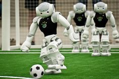 B-Human team from Bremen University, that won the 2016 World RoboCup SPL. Teams use Nao robots.