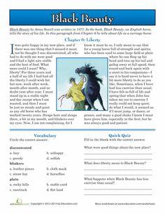 Worksheets: Black Beauty Reading Comprehension