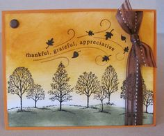 Fall Thankful Grateful Appreciate Tree Handmade Card Kit with Some Stampin Up | eBay