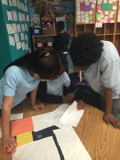 3rd graders in the Courageous Crew spent math time DETERMINING the #area and #perimeter of rectilinear shapes by MEASURING in inches. Then they collaborated in small groups to DESIGN and CONSTRUCT their own replica of Piet Mondrian's compositions! #math #TakomaEC @Philllipscollection
