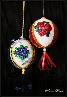 Вышивка лентами на шариках / Вышивка лентами / В рукоделии