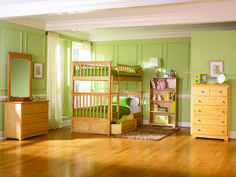 Customizable Columbia Twin Over Twin Bunk Bed Set - Natural Maple