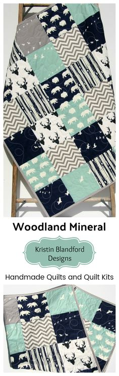 Handmade Baby Quilt, Toddler Bed Quilt, Quilts for Sale, Mineral Navy Blue Woodland Baby Bedding, Crib Blanket, Nursery Decor, Modern Woodland Nursery, Boy Woodland Quilt, Baby Quilt Kit Toddler Quilt, Sewing DIY Craft Project Ideas Sewing Kit by Kristin Blandford Designs #babygift #babyboy #nurserydecor #toddlerbedding