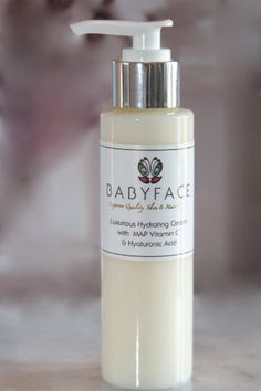 """Babyface Luxurious Hydrating Creme Daytime Moisturizer w/ MAP Vitamin C & Hyaluronic Acid 4oz by Babyface. $104.00. Lightweight Moisturizer for Face. Stimulates Collagen to Smooth Fine lines. Firms, Plumps, Hydrates and Tones. Calms & Soothes Irritated Skin. Vitamin C Brightens Complexion. PRODUCT DETAILS: 1 fl. oz (30 ml.) BABYFACE LUXURIOUS HYDRATING CREME. Daytime """"lightweight"""" moisturizer for hands & face. Noncomedogenic. No Parabens. Made in the USA.   This was ..."""