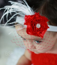 Valentine Headband Baby Headband Classic Red with Feathers