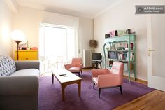 Ice-cream colored vintage furniture populates this gorgeous and feminine flat in the center of Athens. Love the pallette!