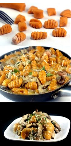 Homemade Sweet Potato (or pumpkin) Gnocchi with Creamy Mushrooms