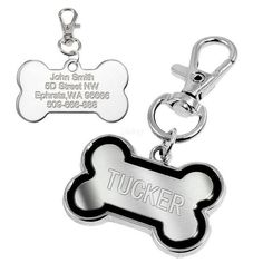 Bone Shape Custom Pet Dog Tag Personalized Engraved Dogs ID Tags Free Hook & Training Clicker Pink Blue Black Red Colors S/L