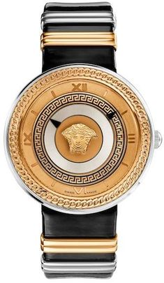 9741847aaa6fd Versace Women s V-Metal Quartz Two-Tone Watch