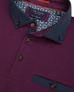 Grosgrain collar polo shirt - Purple   T for Tall   Ted Baker UK