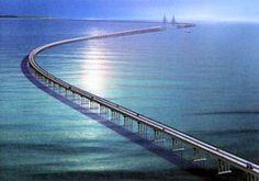 World's Longest Bridge -Lake Pontchartrain Causeway in Southern Louisiana