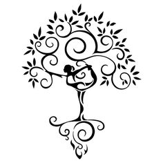 Tribal yoga tree of life tattoo ... like the simplicity, but want a pregnant goddess