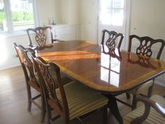 Mahogany Victorian Style Dining Room Table And Six Chairs By Simbeck