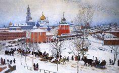 Konstantin Juon, Vista de la Laura de la Santíssima Trinitat i Sant Sergi des del carrer Vokzalnaya. 1911. Oli sobre tela.