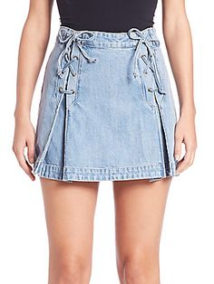 Free People Denim Lace-Up Mini Skirt                                                                                                                                                                                 More
