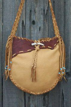 Fringed leather handbag  Possibles bag Rustic by thunderrose, $225.00