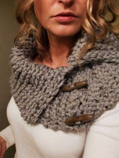 Chunky Grey Cowl with Toggle Buttons by FloraLora on Etsy