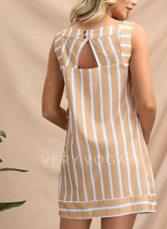[£ Striped Sleeveless Shift Above Knee Casual/Vacation Dresses - VeryVoga Simple Dresses, Nice Dresses, Casual Dresses, Short Dresses, Vestidos Fashion, Latest African Fashion Dresses, Dress Indian Style, Long Sleeve Mini Dress, Western Dresses
