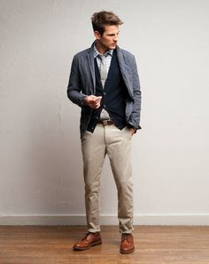 Casual office wear - khaki chinos with sport jacket and cardigan