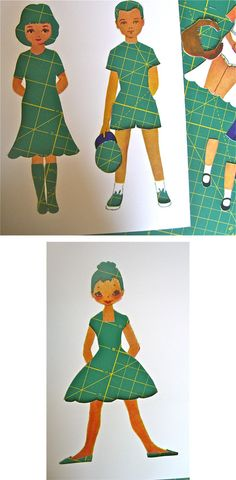 """Cutout paper doll templates and let kids """"dress"""" them by placing patterned paper/fabric behind the cutouts."""
