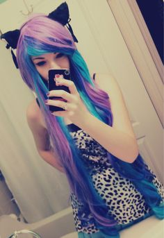 purple and blue hair! I want my hair to be that long!