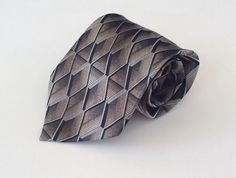 Pierre Cardin Neck Tie Brown Black Tan Geometric 100% Silk #PierreCardin #NeckTie