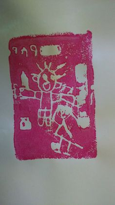 vaderdagkaart in thema ten afval: tekenen met potlood op isomo schaal en dan afdruk met verf