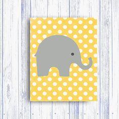 Elephant Nursery Polka Dot Art Print, Instant Download DOTTED Yellow Art