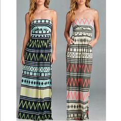 The XIMENA chevron Maxi dress - MINT Super fun! Which girl doesn't like chevron? Chevron print, full length, strapless dress with empire waist and pockets. PRINTED BULGARI, DOMESTIC FABRIC. AVAILABLE IN MINT.‼️NO TRADE, PRICE FIRM‼️ Dresses Maxi