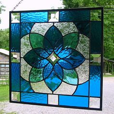 Aqua blue geometric stained glass panel  Love the Blue!