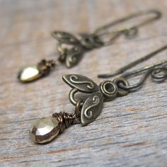 Flight of the Bee earrings ... antiqued brass by ElementsArtifacts