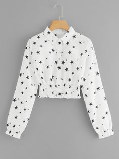 Casual Button and Frill Geometric Shirt Regular Fit Collar Long Sleeve Placket Beige Crop Length Star Print Single Breasted Crop Blouse Teen Fashion Outfits, Look Fashion, Hijab Fashion, Fashion News, Casual Outfits, Cute Outfits, Crop Blouse, Shirt Blouses, Indian Blouse