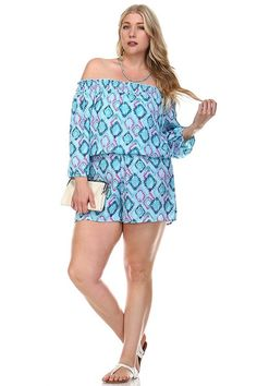 Description Plus size off shoulder style printed romper - Featured elasticized neckline & waistline - 100% Polyester - Fabric has no stretch - Unlined - Imported Size Guide Measuring Tips Sizing may s