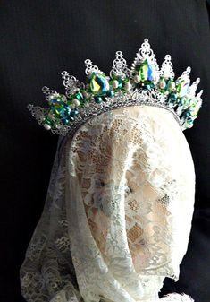 f4acdd5eb68c emerald green silver wedding metal crown tiara gift ideas for women bridal  headpiece Dolce Swarovski headband birthday gift chakra queen
