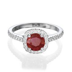 1.65 CT Ladies Round Red Ruby Diamond Engagement Wedding Ring White Gold