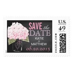 Pink Hydrangea Chalkboard Mason Jar Wedding RSVP Postage