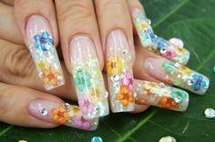 Summer flower nail art #dry flower #inlay #encaps #encapsulation