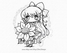 This cute art is available as a digital stamp for coloring, card making, scrapbooking, and any other creative or craft projects. This listing is for a Disney Coloring Pages, Coloring Pages To Print, Colouring Pages, Gothic Anime Girl, Cartoon Kids, Digital Stamps, Colorful Pictures, Paper Piecing, Cute Art