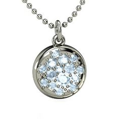 Naked Pave Petite Pendant,   Sterling Silver Necklace  with Aquamarine