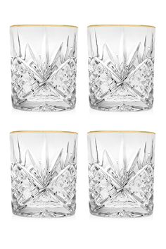 Gold Dublin Double Old-Fashioned Glasses - Set of 4