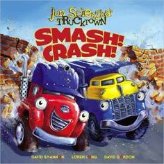 Smash! Crash! by Jon Scieszka. Follow the link and scroll through the Barnes & Noble  videos. http://www.barnesandnoble.com/u/online-storytime-books-toys/379003588