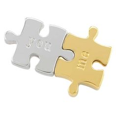 """Silver and Gold Puzzle Pieces """"You and Me"""" Bracelet Sliders ❤️ Shop online anytime at crystalstary.origamiowl.com"""