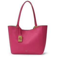 Lauren Ralph Lauren Acadia Leather Shopper Bag ( 104) ❤ liked on Polyvore  featuring bags, handbags, tote bags, bright rose, leather shopper, white  tote, ... e735204f028