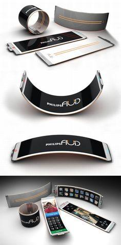 ♂ Concept Philips fluid flexible smartphone design from http://www.designbuzz.com/philips-fluid-smartphone-with-flexible-oled-display/